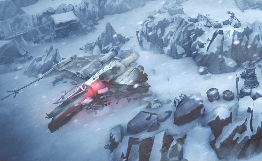 Jedną z odwiedzanych lokalizacji jest zniszczona baza Rebeliantów na Hoth