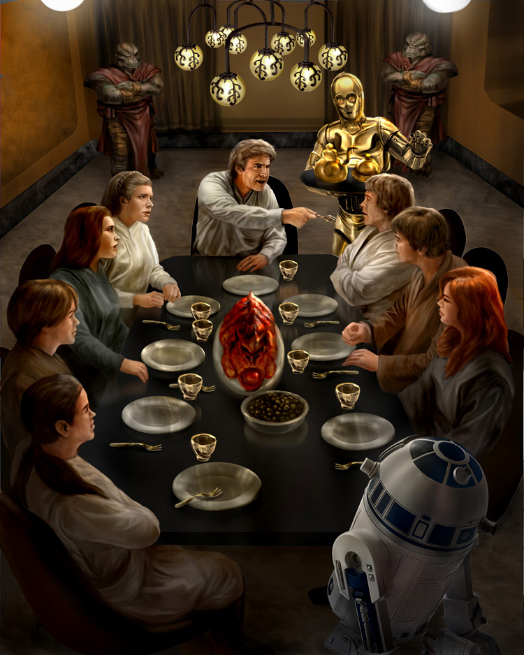 solo_skywalker_family_dinner____by_chrisscalf-d5guwlj