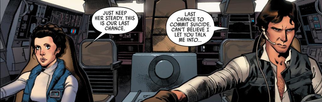 """Jeden z kadrów Star Wars #22, a na nim Han i Leia w pełnej """"krasie"""""""