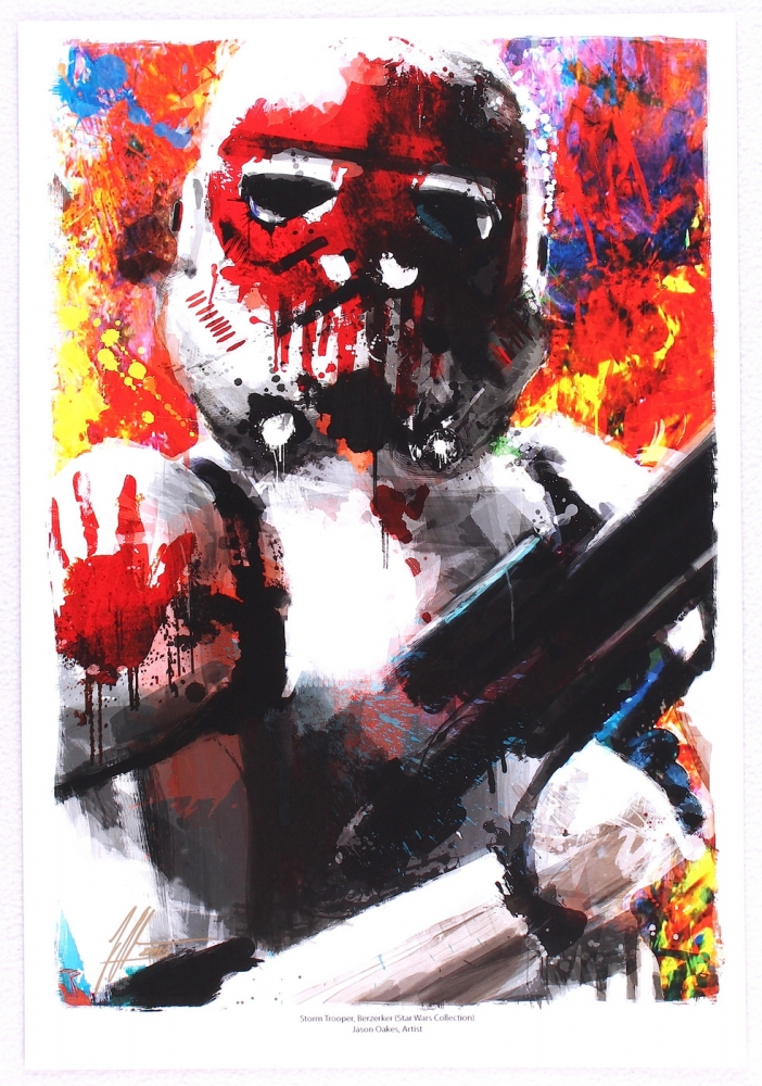 main_1-Jason-Oakes-Signed-13x19-Storm-Trooper-Berzerker-Star-Wars-Lithograph-PA-COA-PristineAuction.com
