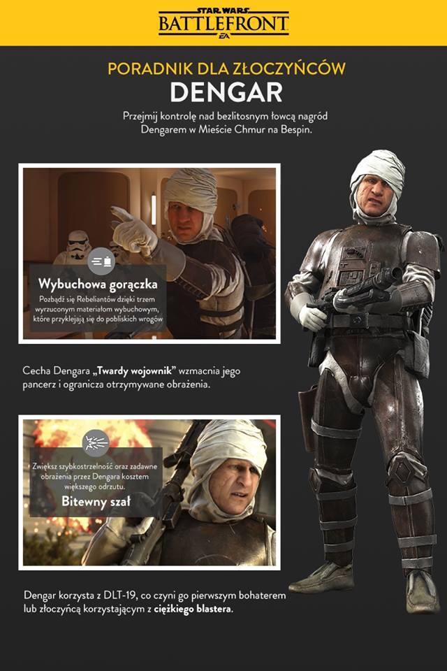 Opis umiejętności Dengara w grze Star Wars Battlefront w DLC Bespin.
