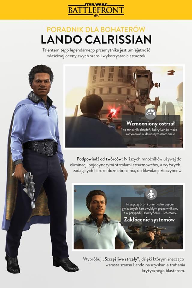 Opis umiejętności Lando Carlissiana w grze Star Wars Battlefront w DLC Bespin.
